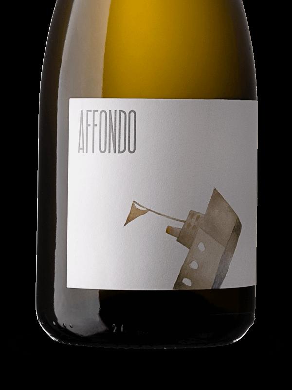 Etichetta della bottiglia di vino bianco frizzante Affondo a rifermentazione naturale in bottiglia prodotto da Cantina Barchessa Loredan a Volpago del Montello.