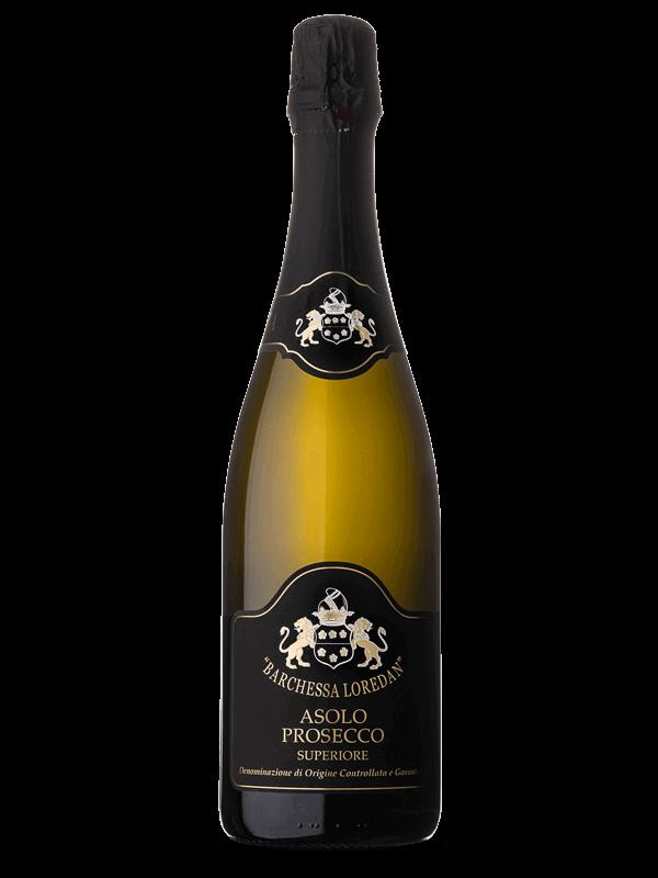 Bottiglia di vino bianco frizzante Asolo Prosecco Superiore DOCG prodotto da Cantina Barchessa Loredan a Volpago del Montello.