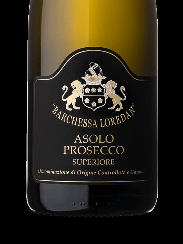 Etichetta della bottiglia di vino bianco frizzante Asolo Prosecco Superiore DOCG prodotto da Cantina Barchessa Loredan a Volpago del Montello.