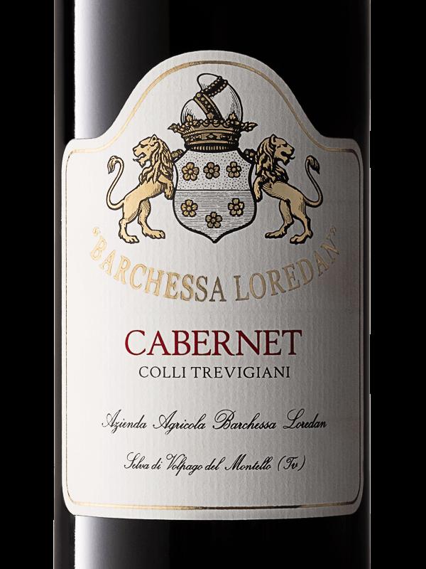 Etichetta della bottiglia di vino rosso Cabernet IGT Colli Trevigiani prodotto da Cantina Barchessa Loredan a Volpago del Montello.