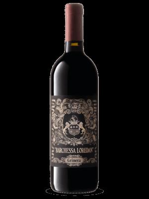 Bottiglia di vino rosso Grinera IGT Colli Trevigiani Merlot prodotto da Cantina Barchessa Loredan a Volpago del Montello.
