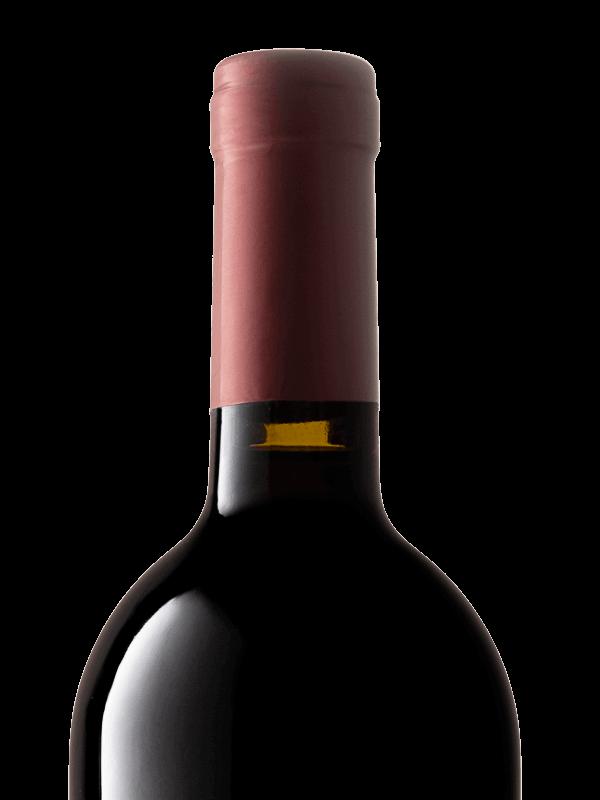 Collo della bottiglia di vino rosso Grinera IGT Colli Trevigiani Merlot prodotto da Cantina Barchessa Loredan a Volpago del Montello.