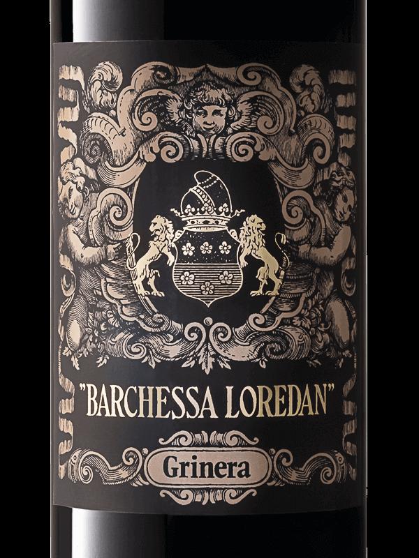 Etichetta della bottiglia di vino rosso Grinera IGT Colli Trevigiani Merlot prodotto da Cantina Barchessa Loredan a Volpago del Montello.