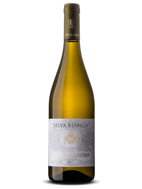 Bottiglia di vino bianco Selva Bianca IGT Colli Trevigiani Traminer aromatico prodotto da Cantina Barchessa Loredan a Volpago del Montello.