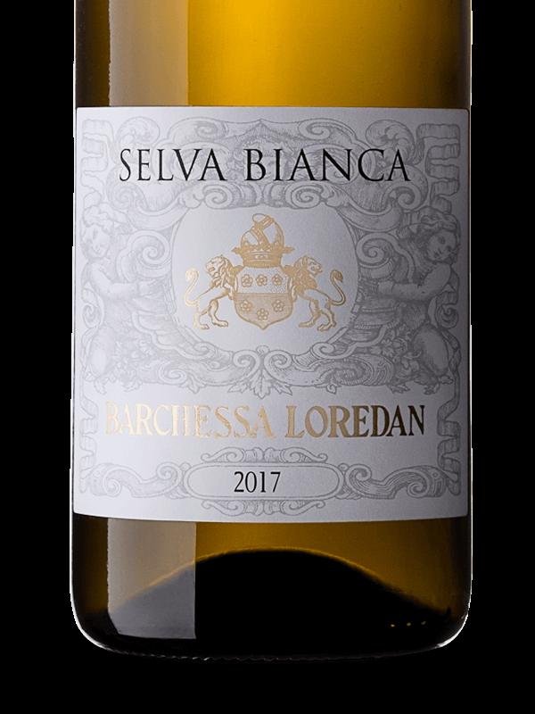 Etichetta della bottiglia di vino bianco Selva Bianca IGT Colli Trevigiani Traminer aromatico prodotto da Cantina Barchessa Loredan a Volpago del Montello.