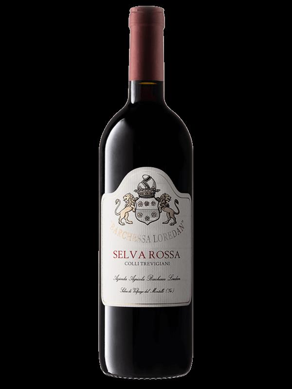 Bottiglia di vino rosso Selva Rossa IGT Colli Trevigiani Merlot prodotto da Cantina Barchessa Loredan a Volpago del Montello.