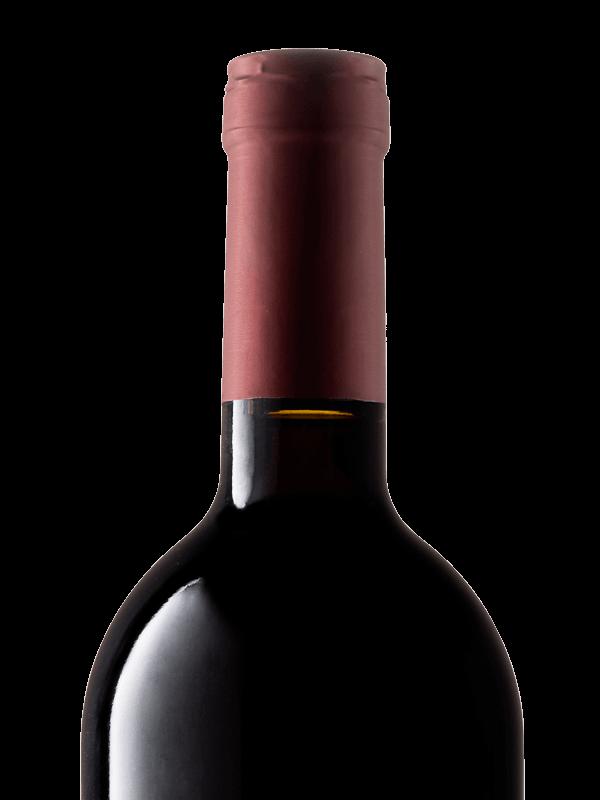 Collo della bottiglia di vino rosso Selva Rossa IGT Colli Trevigiani Merlot prodotto da Cantina Barchessa Loredan a Volpago del Montello.