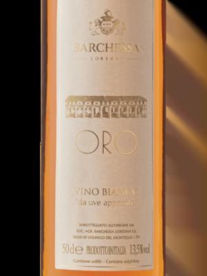 Etichetta della bottiglia di vino Oro, prodotto da Barchessa Loredan a partire da uve passite.